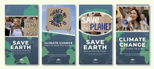Instagram-geschichten-sammlung zum klimawandel mit gradienten