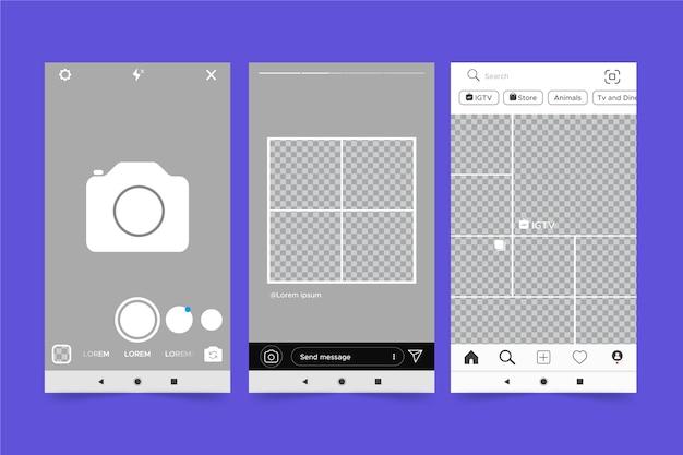 Instagram-geschichten-schnittstellenthema für vorlage