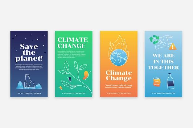 Instagram-geschichten-vorlage für den gradienten klimawandel