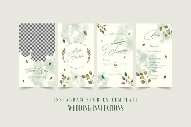 Instagram geschichten vorlage für hochzeitseinladungskarte mit aquarell blume und blätter