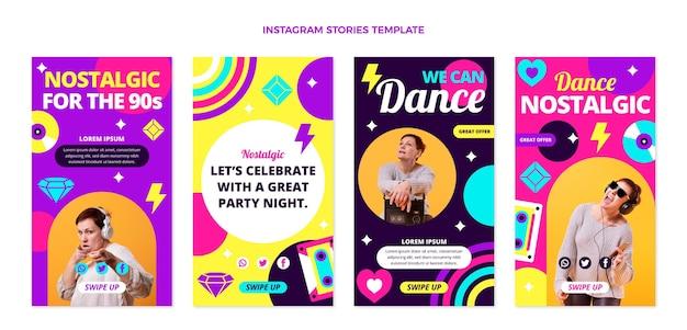 Instagram-geschichten zum musikfestival der 90er jahre im flachen design