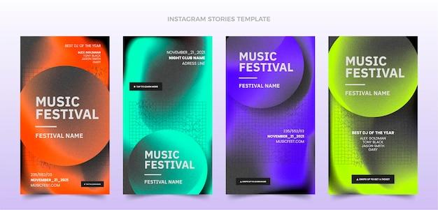 Instagram-geschichten zum musikfestival mit farbverlauf