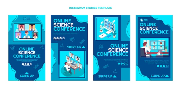 Instagram-geschichten zur flachen design-wissenschaftskonferenz
