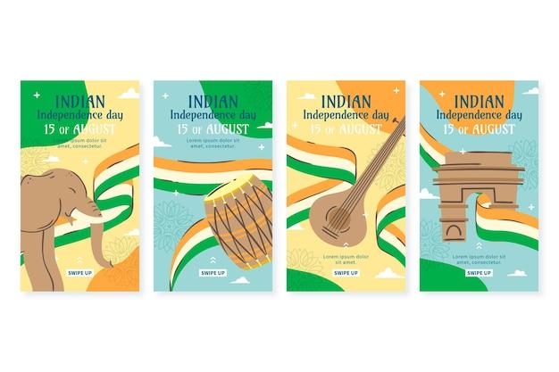 Instagram-geschichtensammlung zum unabhängigkeitstag von indien Kostenlosen Vektoren