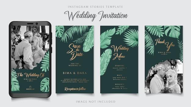 Instagram-geschichtenschablone für tropischen blumenthemahintergrund der hochzeitseinladungskarte auf dunkelgrünem papier