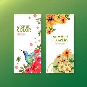 Instagram-geschichtenschablone mit frühlingsblumen und kolibriillustration