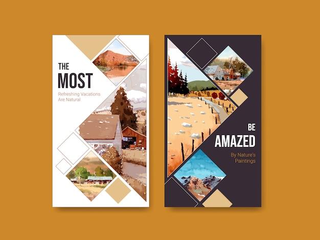 Instagram-geschichtenvorlage mit landschaft im herbstdesign