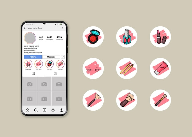 Instagram highlight cover icon set mit make-up kit logos