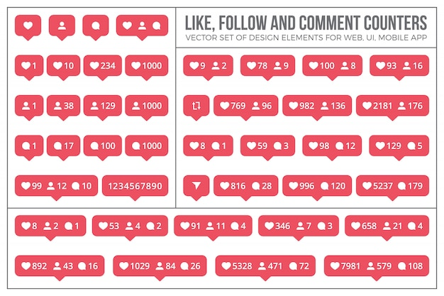Instagram like counter icons und elements set