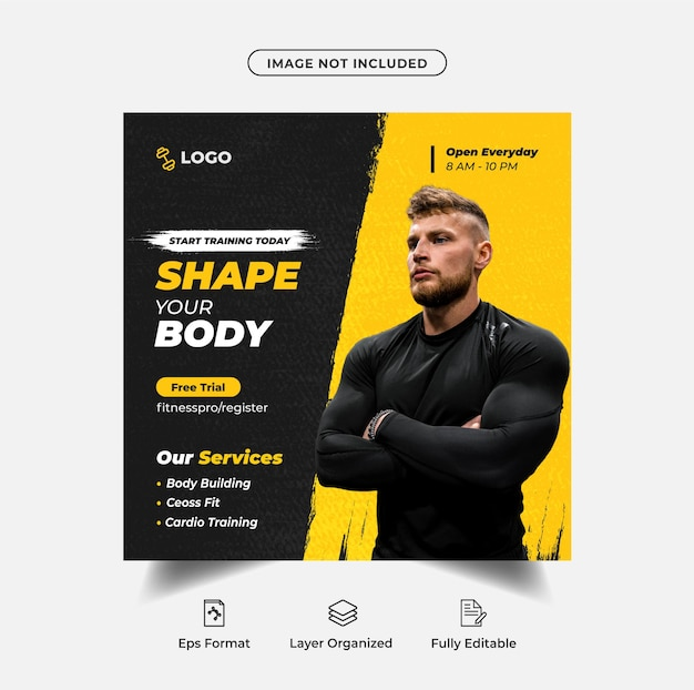 Instagram-post des fitnessclubs und social-media-webbanner-vorlage premium-vektor