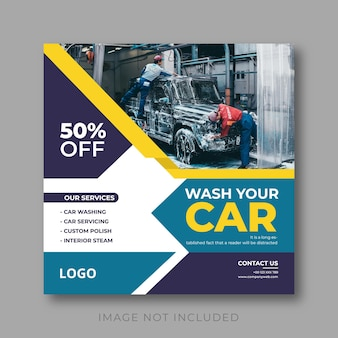 Instagram-post-design für die autowäsche