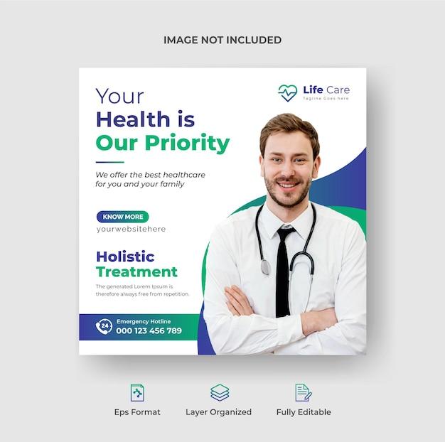 Instagram-post-design-vorlage für social-media-werbeaktionen im gesundheitswesen premium-vektor