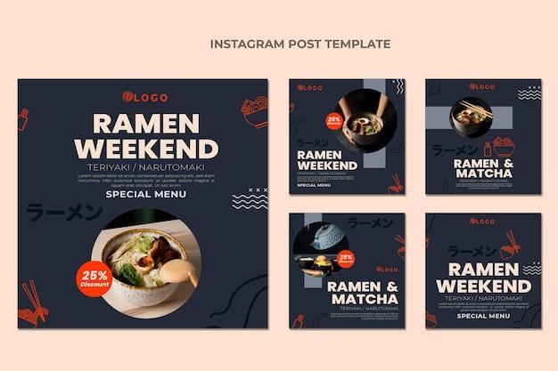 Instagram-post für lebensmittel im flachen design