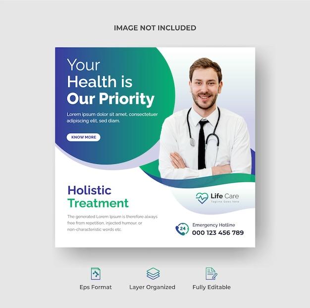 Instagram-post für medizin und gesundheitswesen oder social-media-webbanner-vorlage premium-vektor