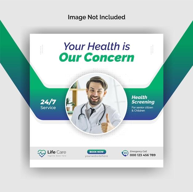 Instagram-post für medizin und gesundheitswesen oder web-banner-vorlage für social-media-werbung premium-vektor