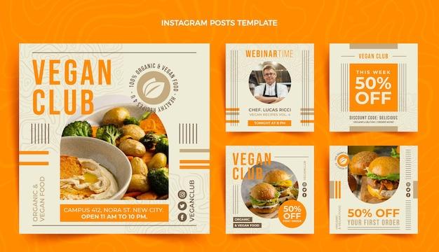 Instagram-post für veganes essen im flachen design