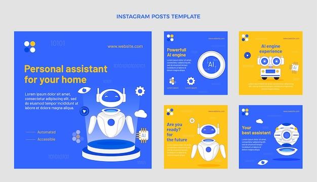 Instagram-post im flachen stil mit minimaler technologie
