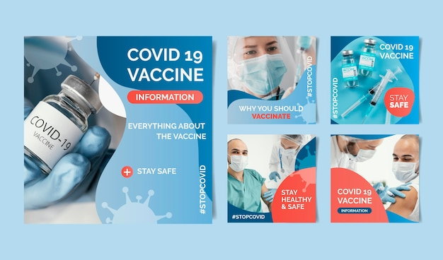 Instagram-post mit farbverlauf-impfung mit fotos