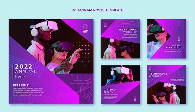 Instagram-post mit flachem design und minimaler technologie