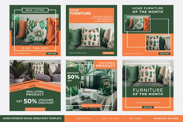 Instagram post oder quadratische banner für home interior design