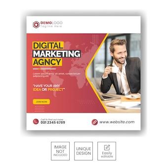 Instagram-post oder quadratische web-banner-vorlage für eine agentur für digitales marketing