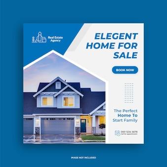 Instagram-post oder quadratische web-banner-werbevorlage für immobilien-immobilien