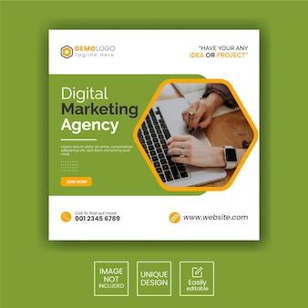 Instagram-post oder quadratische webbanner-vorlage für eine agentur für digitales marketing
