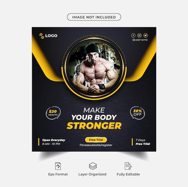 Instagram-post oder social-media-banner-vorlage für das fitnessstudio-training premium-vektor