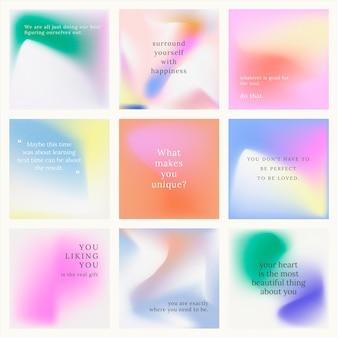 Instagram-post-set bunten hintergrund mit farbverlauf