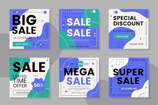 Instagram-post-set für den verkauf im flachen design