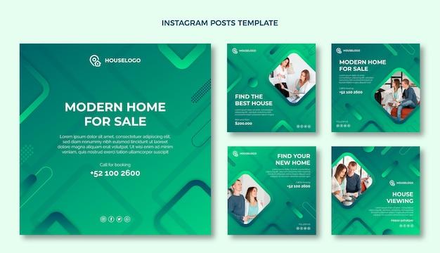 Instagram-post-set für immobilien mit farbverlauf