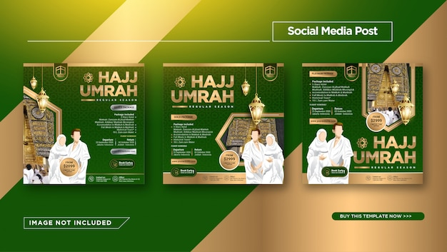 Instagram post template für hajj und umrah promotion