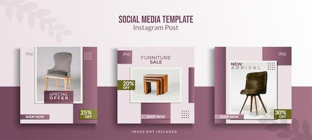Instagram post template sammlung, möbelverkauf