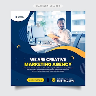 Instagram-post und -banner der agentur für digitales marketing
