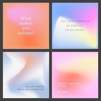 Instagram-post-vektor-set bunten hintergrund
