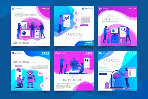 Instagram-post-vorlage für künstliche intelligenz