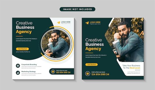 Instagram-post-vorlagendesign oder quadratischer flyer für marketingförderung für unternehmen und digitales geschäft premium-vektor