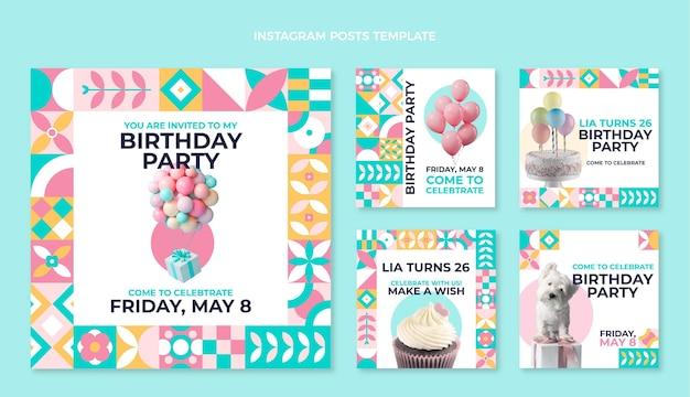 Instagram-post zum geburtstag mit flachem mosaik