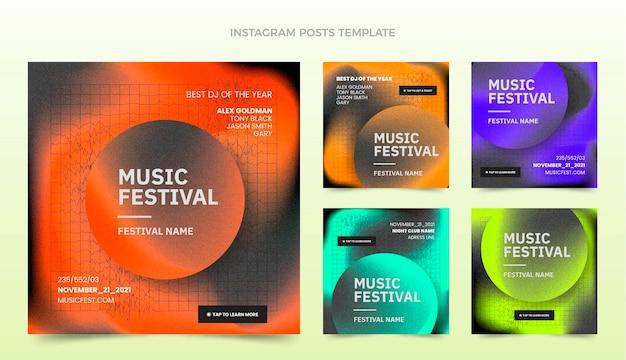Instagram-post zum musikfestival mit farbverlauf