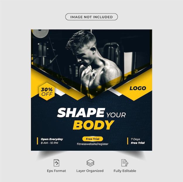 Instagram-posten oder quadratische flyer-vorlage für die fitnesszone premium-vektor