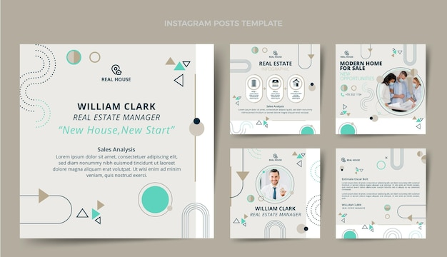 Instagram-postpaket für flaches design-immobilien