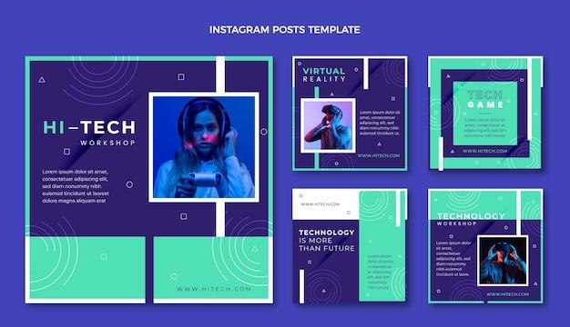 Instagram-posts mit flachem design und minimaler technologie