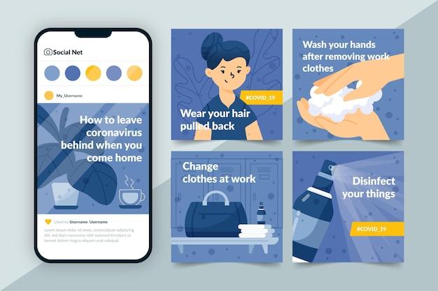 Instagram-posts mit informationen darüber, wie sie coronavirus hinter sich lassen können, wenn sie nach hause kommen