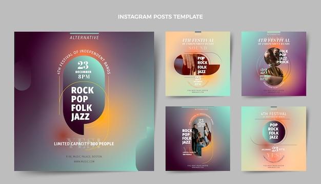 Instagram-posts-sammlung für das musikfestival mit farbverlauf