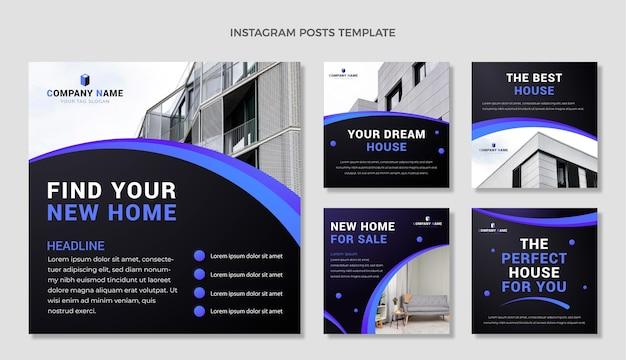 Instagram-posts-sammlung für immobilien mit farbverlauf