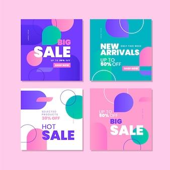 Instagram-postsammlung zum verkauf mit farbverlauf