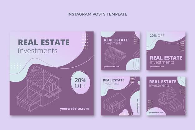 Instagram-postvorlage für immobilien mit farbverlauf Kostenlosen Vektoren