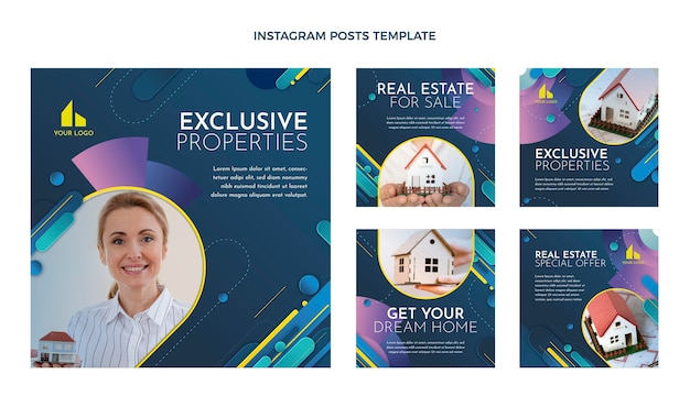 Instagram-postvorlage für immobilien mit farbverlauf