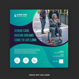 Instagram-postvorlage für seniorenpflege und social-media-bannerdesign für alte pflege