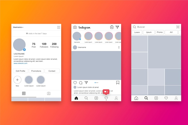 Instagram-profilschnittstellen-vorlagenthema